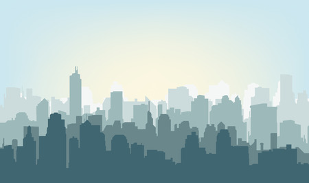 Foto de Morning city silhouette. Silhouette of the city at sunrise - Imagen libre de derechos
