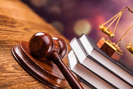 Photo pour Mallet, legal code and scales of justice. Law concept, studio shots - image libre de droit