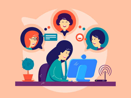 Ilustración de Girl remotely communicates with friends - Imagen libre de derechos