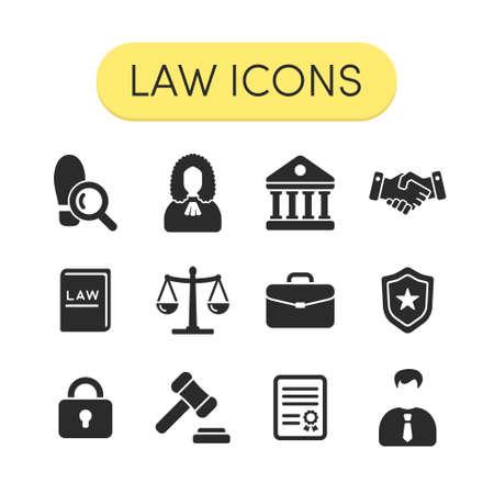 Illustration pour Set of simple grey vector justice law and legal icons - image libre de droit