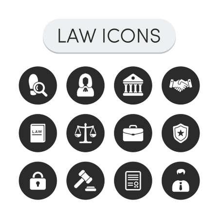 Illustration pour Set of round grey vector justice, law and legal icons - image libre de droit