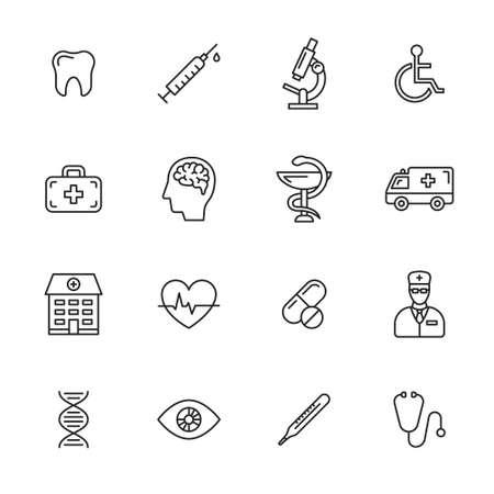 Illustration pour Medical and health care thin line icons - image libre de droit