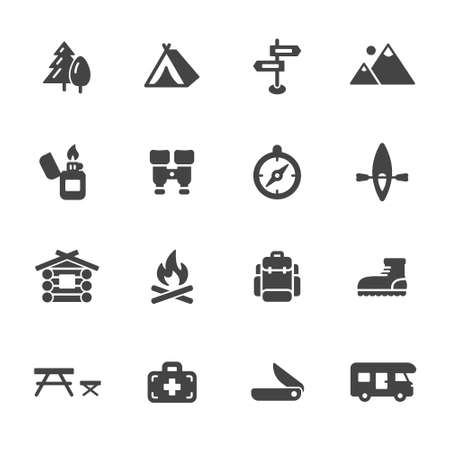 Illustration pour Camping, hiking and outdoor icons. Simple flat vector icons set on white background - image libre de droit