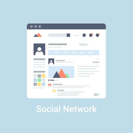 Illustration pour Social network website wireframe interface template. Flat vector illustration on blue background - image libre de droit