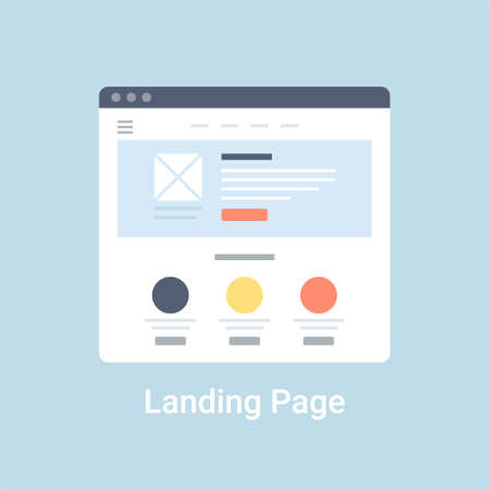 Illustration pour Landing page website wireframe interface template. Flat vector illustration on blue background - image libre de droit