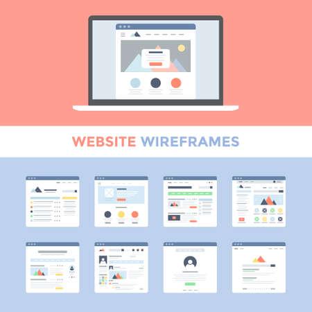 Illustration pour Vector set of flat website wireframes on laptop screen - image libre de droit