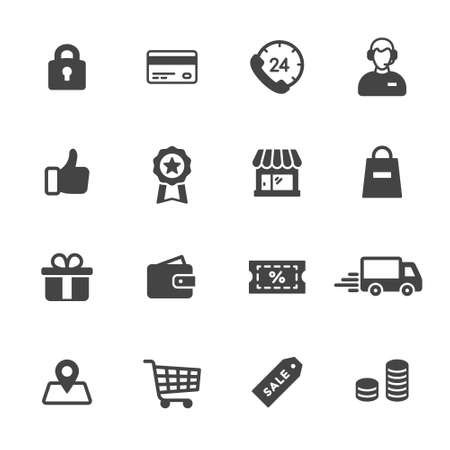 Illustration for Shopping and e-commerce icons - Royalty Free Image