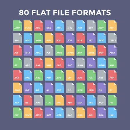 Ilustración de Flat file format icons. Audio, video, image, system, archive, code and document file types - Imagen libre de derechos