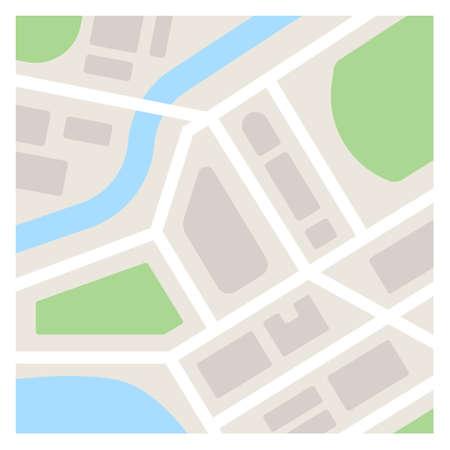 Illustration pour Vector map template illustration. Simple flat city map - image libre de droit