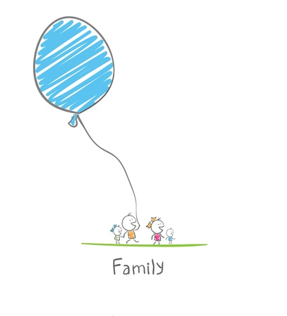 Photo for happy family holding a balloon - Royalty Free Image