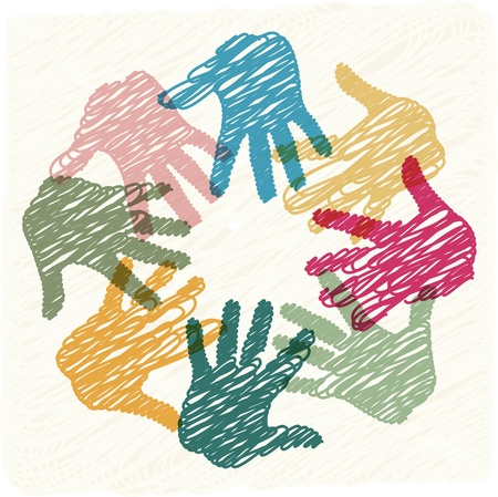 Photo pour Teamwork hands - image libre de droit