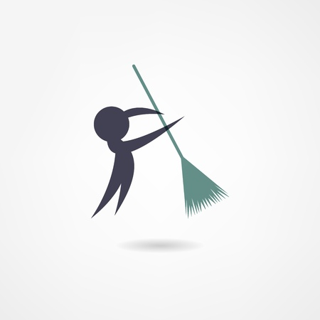 Illustration for janitor icon - Royalty Free Image