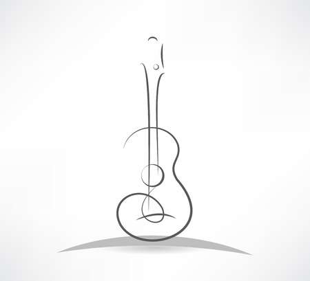 Illustration for acoustic guitar bending line icon - Royalty Free Image