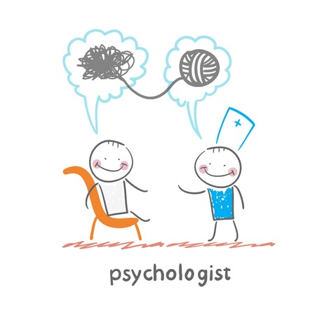 Illustration pour psychologist says to the patient, and solves problems - image libre de droit
