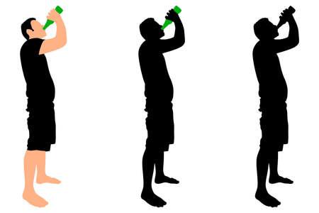 Ilustración de Casual young man drinking bottle of beer, vector - Imagen libre de derechos