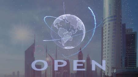 Photo pour Open text with 3d hologram of the planet Earth against the backdrop of the modern metropolis. Futuristic animation concept - image libre de droit
