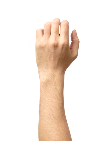 Photo pour Man hand isolated on white background, hold, grab or catch - image libre de droit