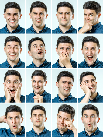 Photo for Mosaic of man expressing different emotions isolated - Royalty Free Image