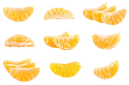 Photo pour Collection of fresh mandarins isolated on white background. Set of multiple images. Part of series - image libre de droit