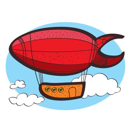 Illustration pour Airship clipart color on a white background - image libre de droit