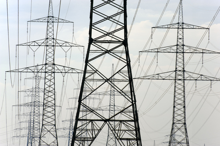 panorama of many electric power poles
