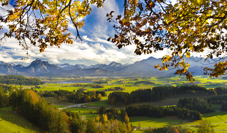 Foto de panorama landscape in Bavaria with alps mountains, meadows and beech tree at autumn - Imagen libre de derechos