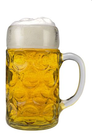 Photo for big traditional glass of Bavarian beer at Oktoberfest in Munich - Royalty Free Image