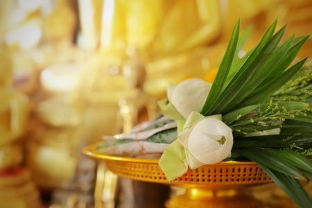Foto de Lotus flowers for buddha. Making merit of thai culture. - Imagen libre de derechos