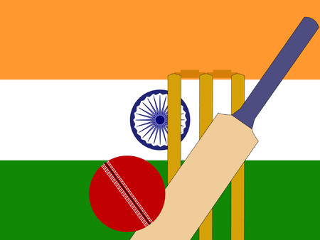 cricket bat and stumps with Indian Flag