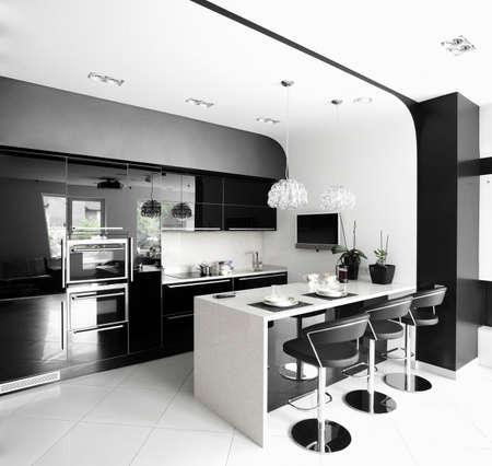 luxury and very clean empty european kitchen