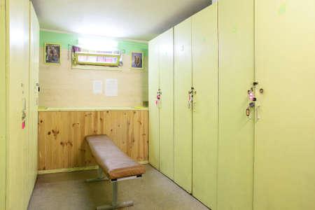 Foto de bright and modern dressing room in gym - Imagen libre de derechos
