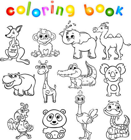 Set of wild animals third for children. Coloring book