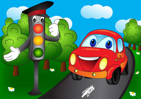 Illustration pour Shining traffic light and car in the forest road. Cartoon vector illustration on EPS 8 - image libre de droit