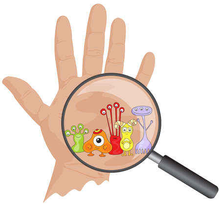 Illustration pour Cartoon microbes peek out from a magnifying lens. Hand with viruses. Vector illustration - image libre de droit