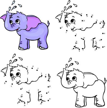 Illustration pour Cartoon elephant. Vector illustration. Coloring and dot to dot educational game for kids - image libre de droit