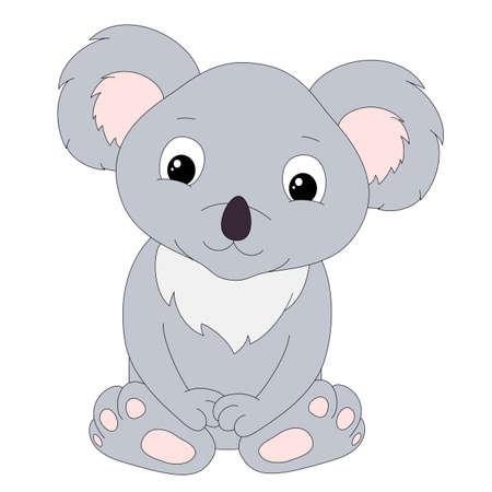 Illustrazione per Cute cartoon koala isolated on white background - Immagini Royalty Free
