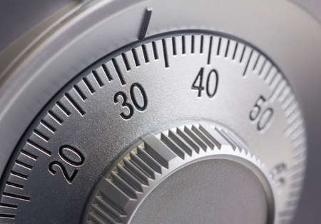 Foto de Close-up of a combination dial on a safe. - Imagen libre de derechos
