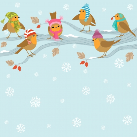 Winter background with cute birds in hats sitting on branch