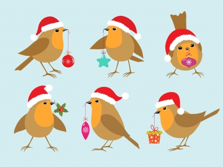 Set of Robins in Santa hats with Christmas decorations