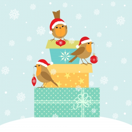 Robins with Christmas decoration on gift boxes.