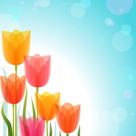 Spring background with colorful tulips. Contains transparent objects.