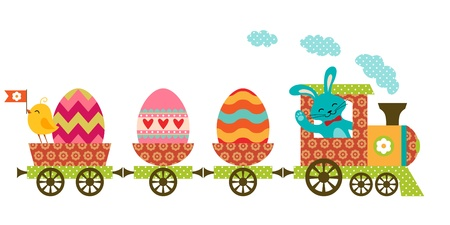 Cute Easter train in patchwork style.