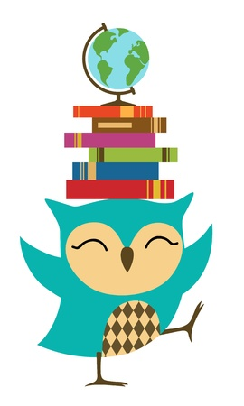 Happy little owl with stack of books.