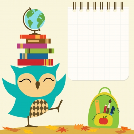 Back to school illustration with little owl and space for your text.