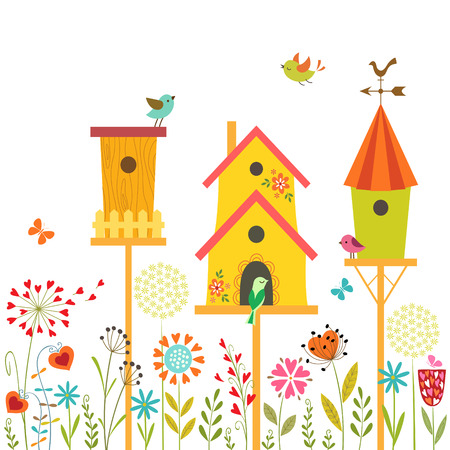 Cute illustration with bird houses, hand drawn flowers and place for text