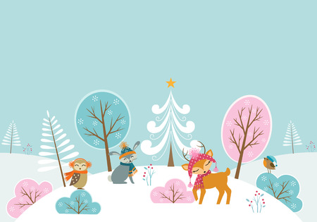 Christmas woodland background with cute animals.