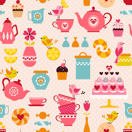 Cute tea time pattern with funny birds.