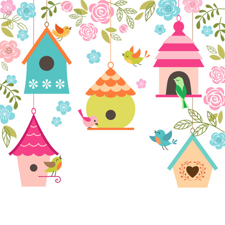 Illustration pour Spring illustration with birds, bird houses, flowers and place for your text. - image libre de droit