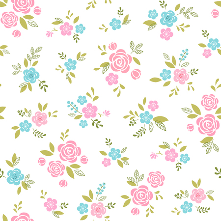 Floral pattern with pink and blue flowers on white background.