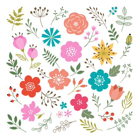 Illustration pour Set of flowers and floral elements isolated on white background. - image libre de droit